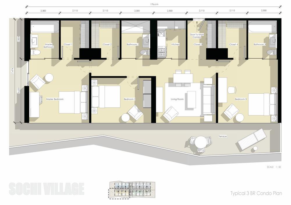Sochi Olympic Village Typical 3 Bedroom Condo Plan