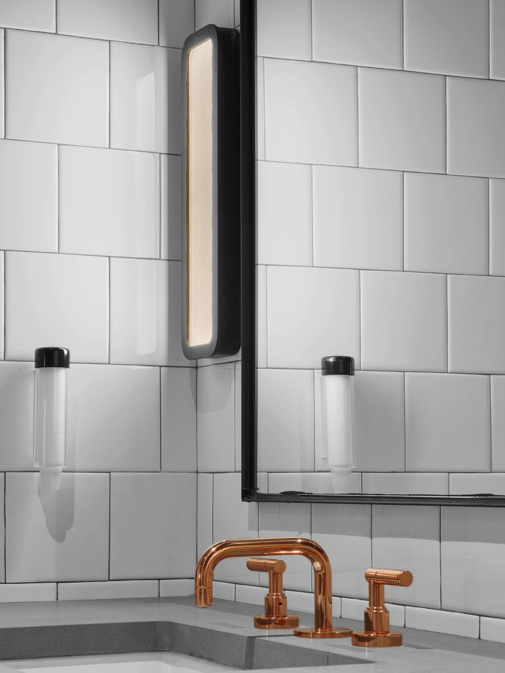 Industry City Athletic Club Locker Room Faucet and Light Detail