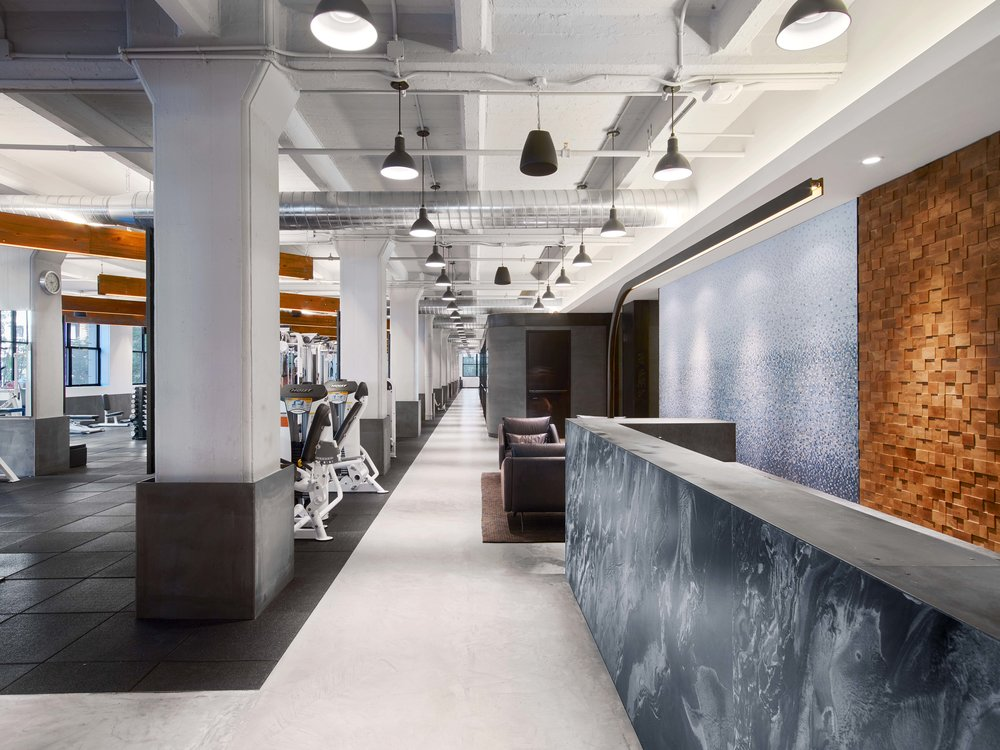 Equinox Dumbo Front Desk, Sitting Area, and Gym