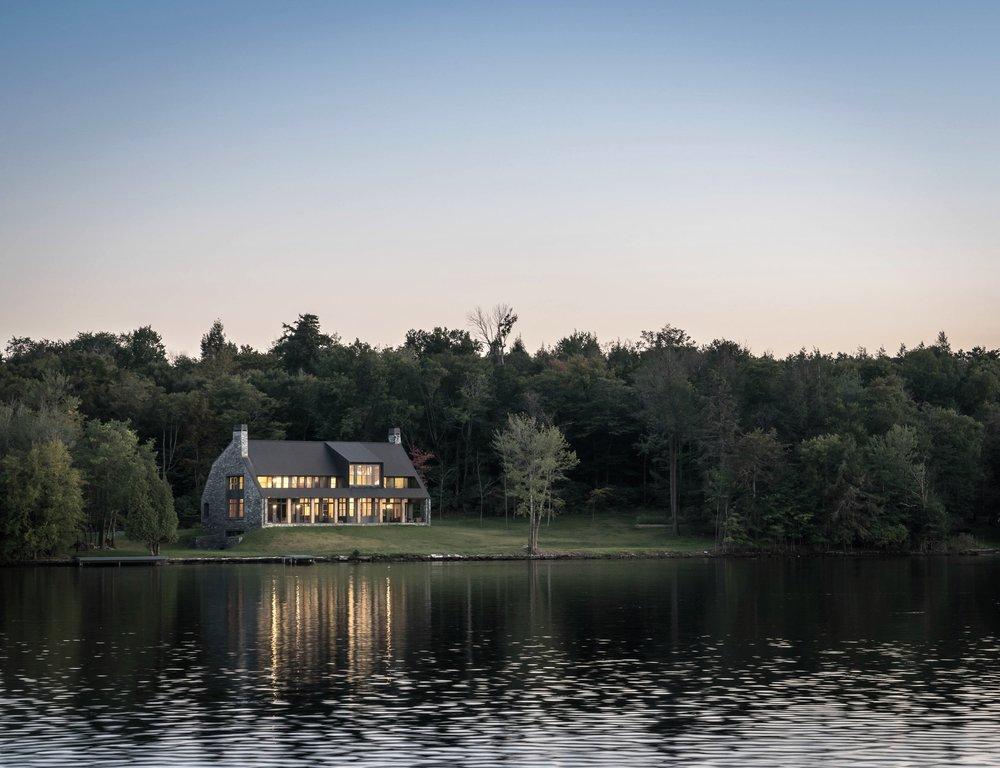 White Lake House Exterior Evening on the Lake