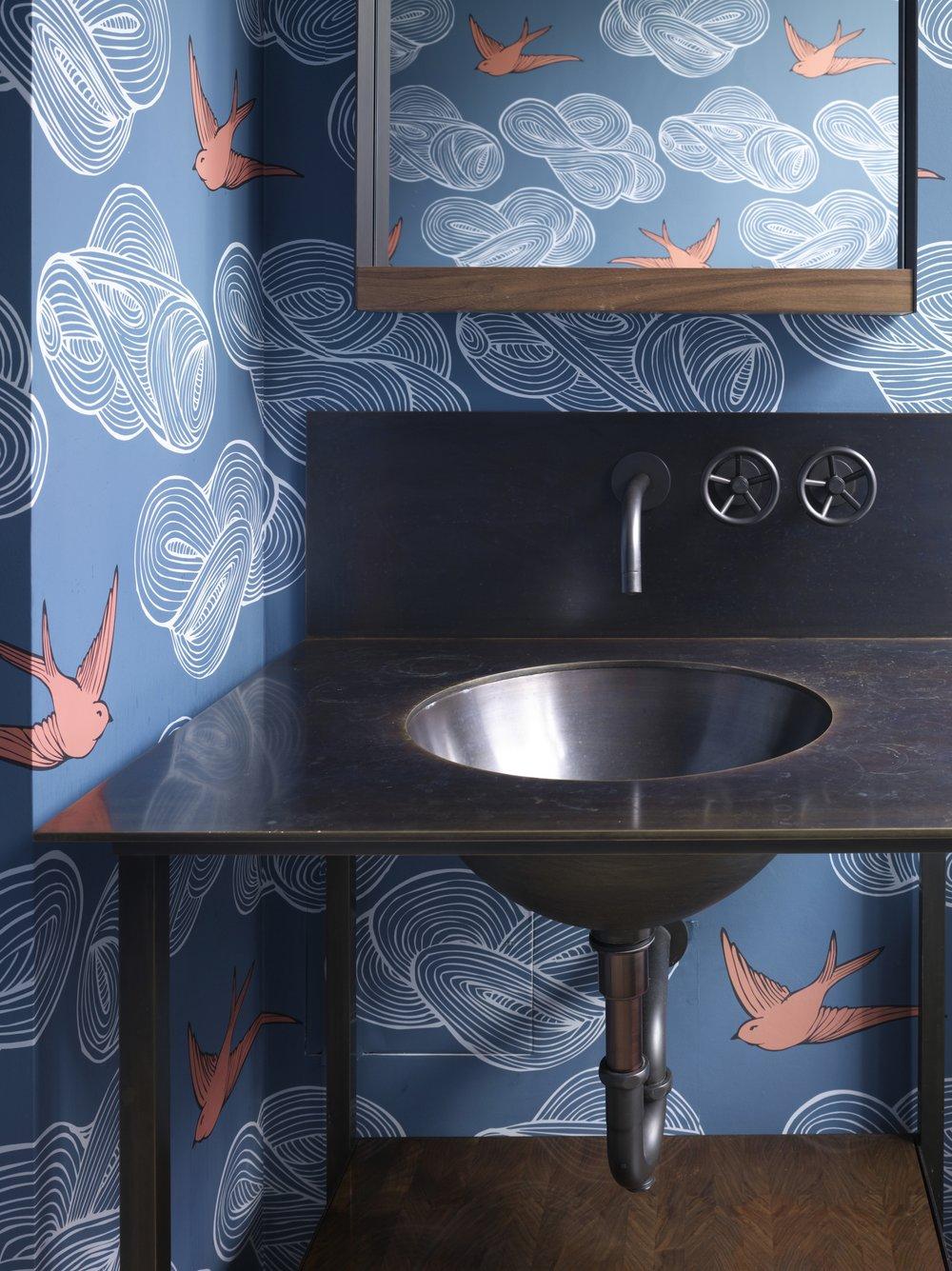 Bohemian Apartment Powder Room Sink