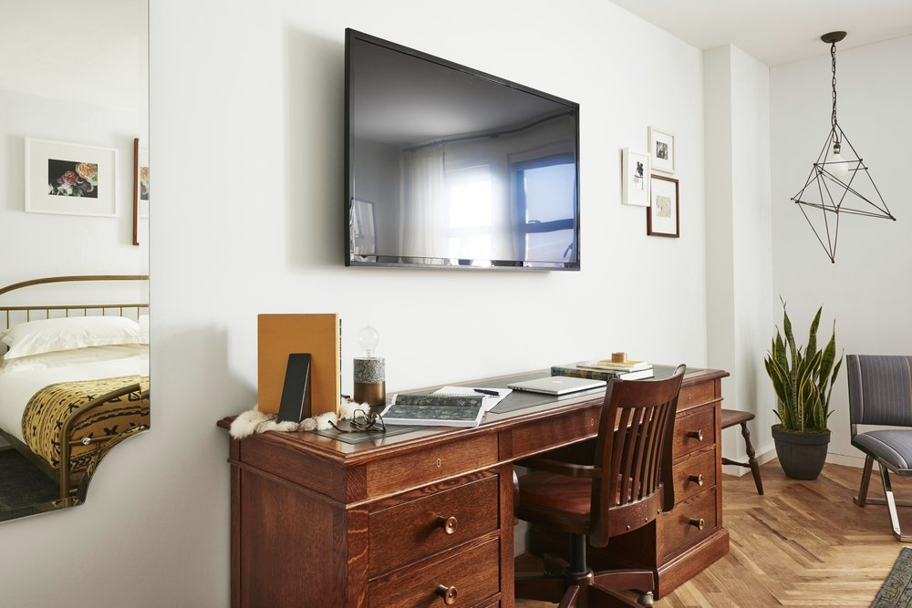 The Line Hotel DC Guest Room Desk and TV