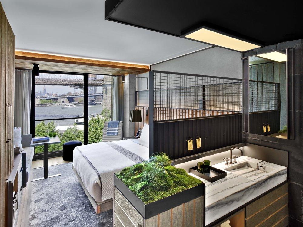 1 Hotel Brooklyn Bridge Guest Room and Bathroom