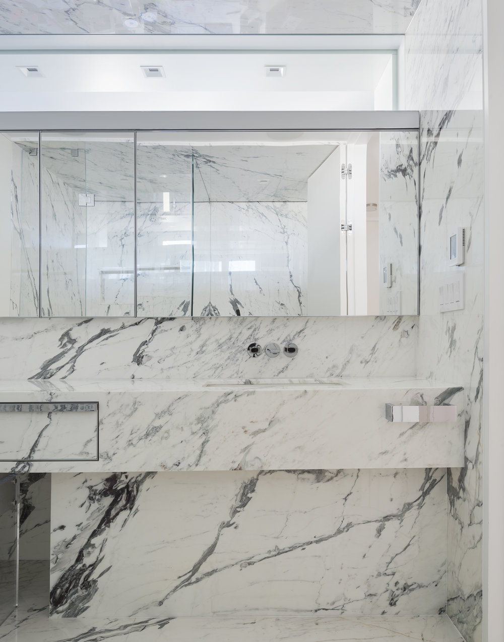 East 77th Street Apartment Her Bathroom Sink and Vanity
