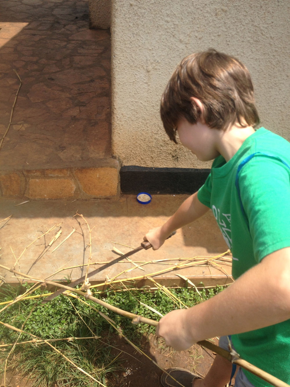 I am trimming up my bamboo with a panga (machete)