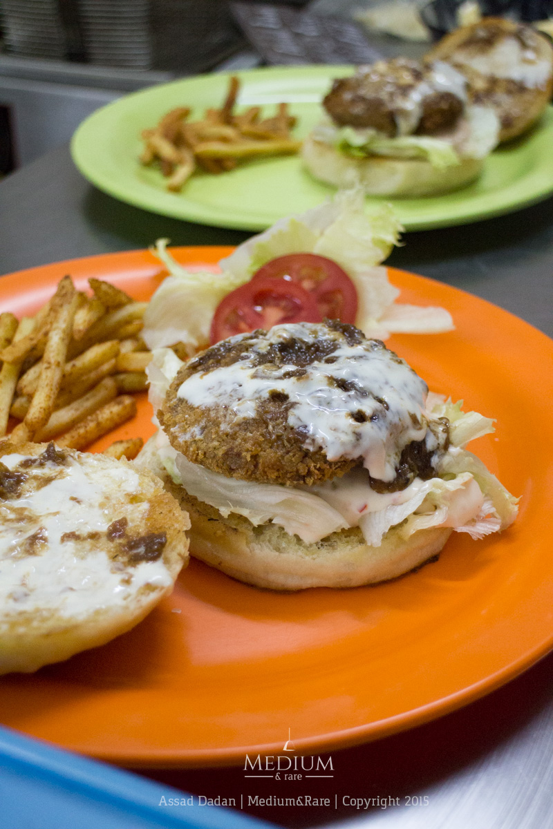 Frisbee's original lamb burger & original chicken burger.