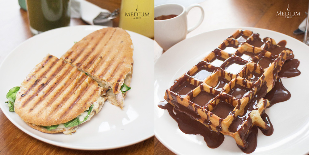 Left : KGC Special Sandwich & Right : Waffle with Dark Chocolate Sauce.