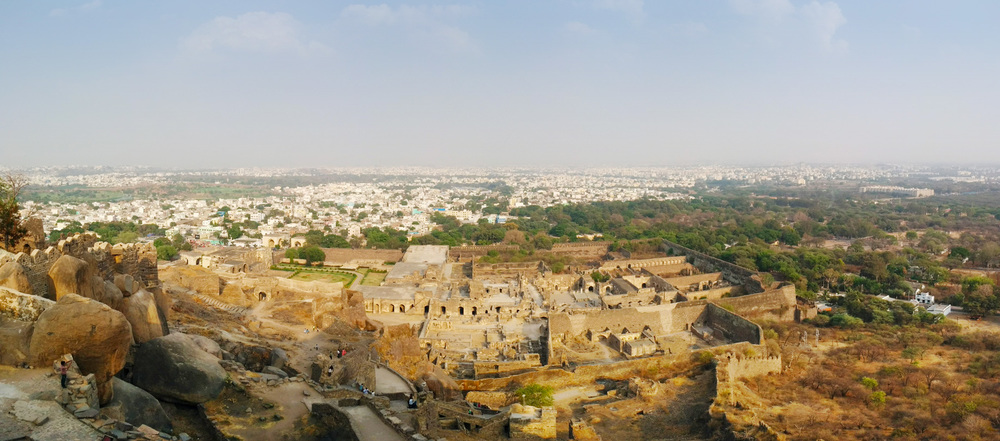Panoramic view from top of Golconda Fort.
