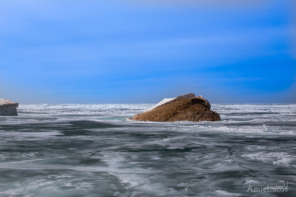 Sand Mound in the middle of a still frozen Lake Michigan