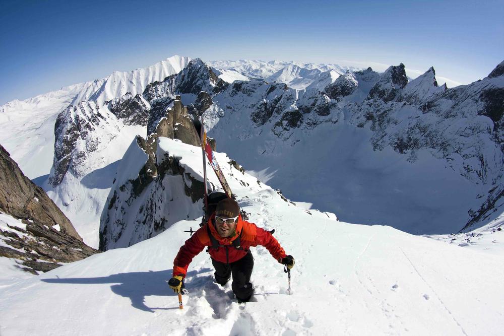 Drew Pogge ski mountainering Tombstone Range, Yukon