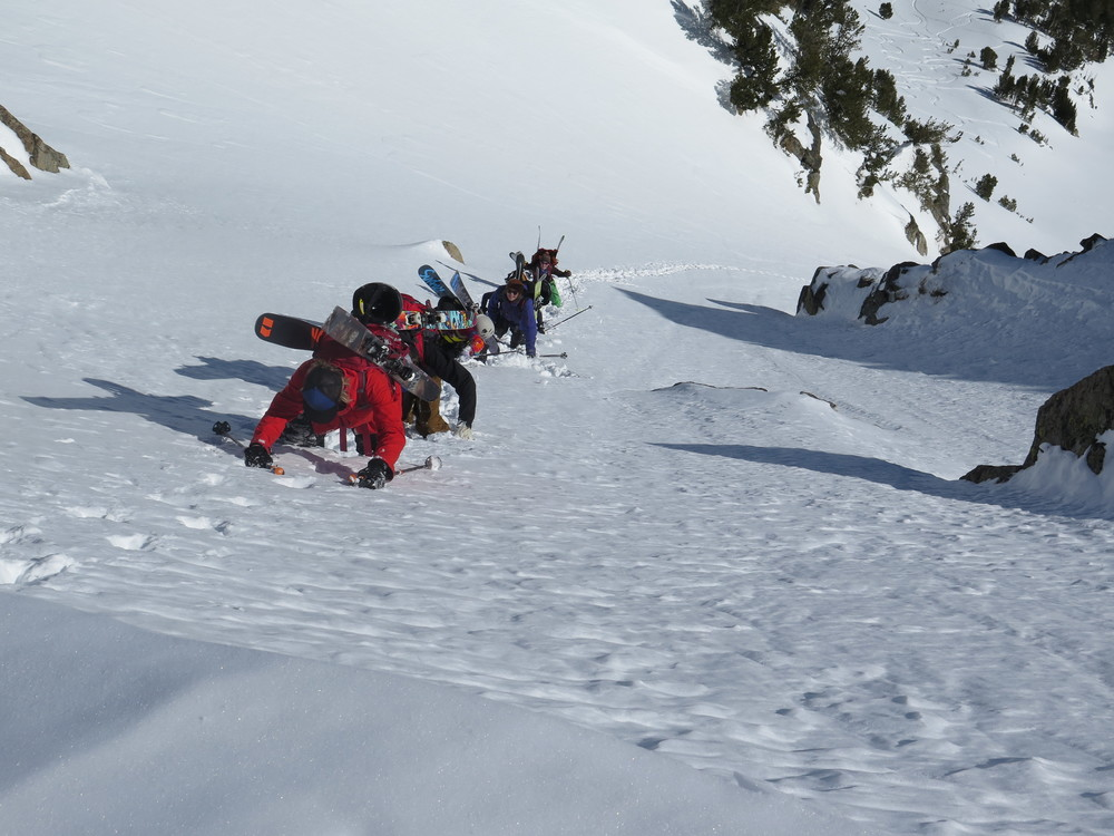 Climbing steep snow is a skill. Learn with Big Sky Backcountry guides!