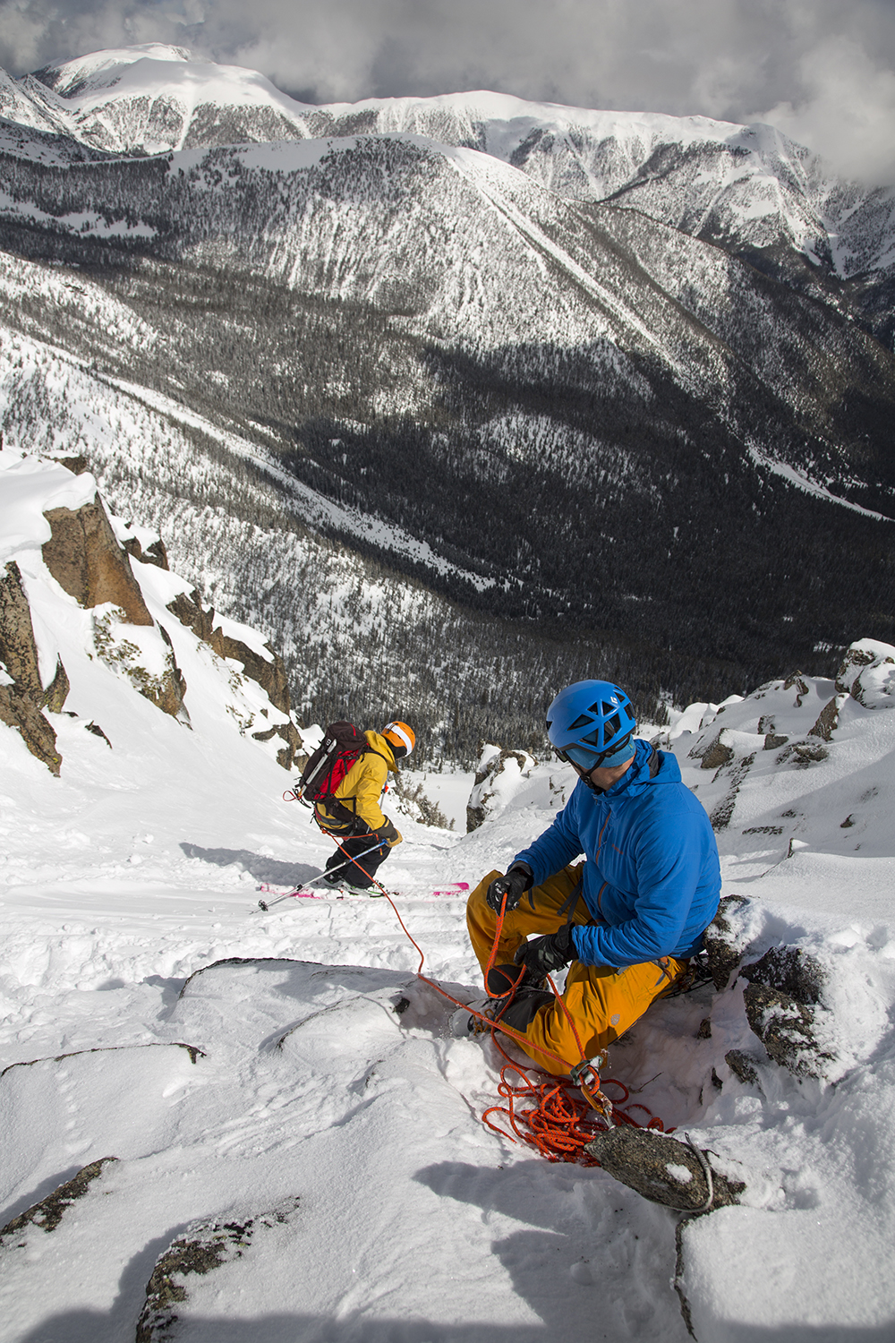 Skiing on belay--one of many skills taught by Big Sky Backcountry Guides