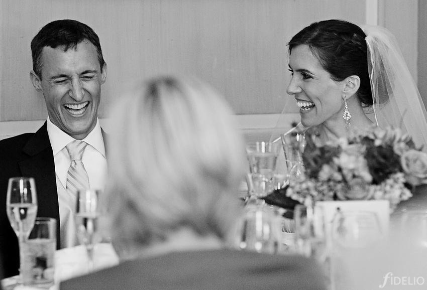 wedding reception laughs