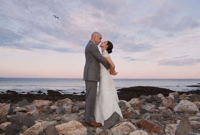 bride & groom beach, Maine Wedding Photographers