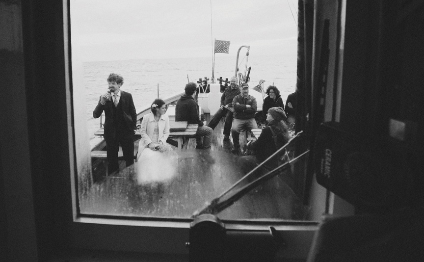 wedding party on boat