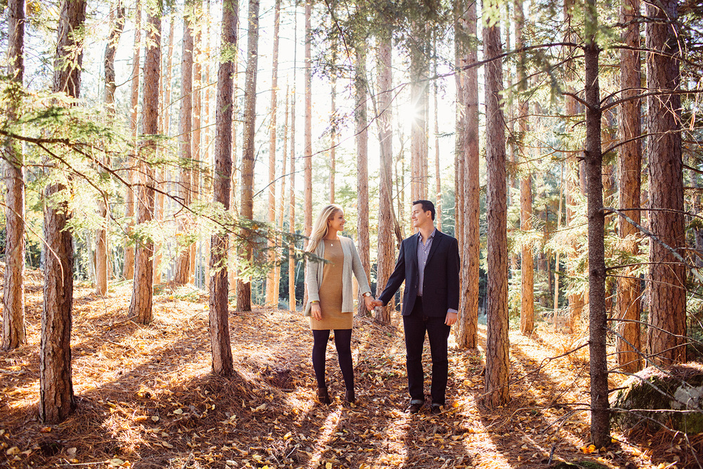 maine woods engagement photos