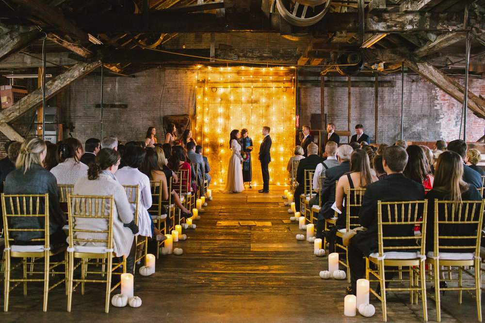 wedding ceremony at 58 fore in portland