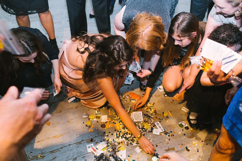 wedding guests grab pinata candy