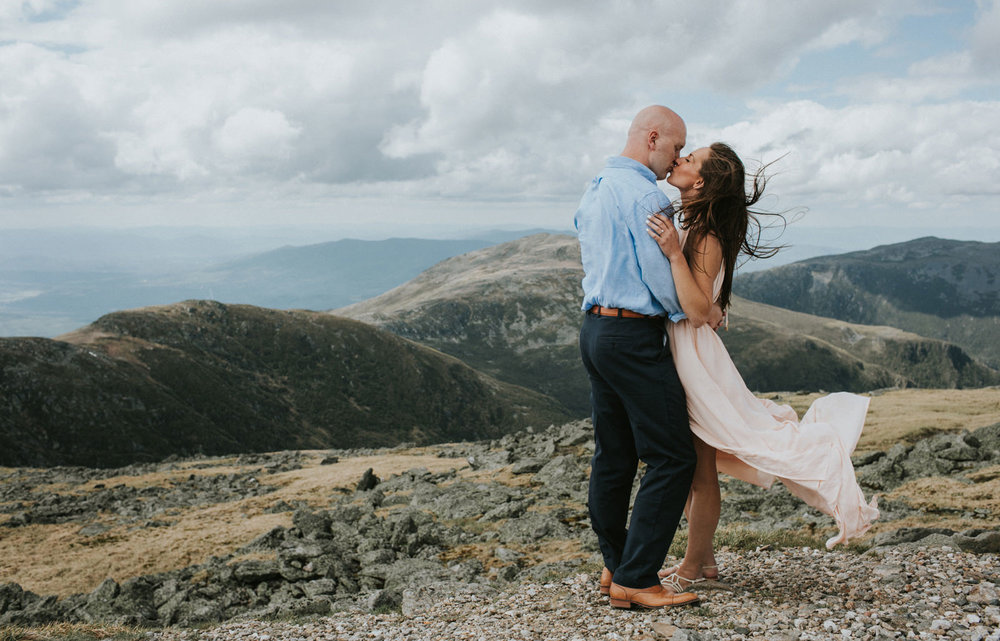 white mountains engagement photography