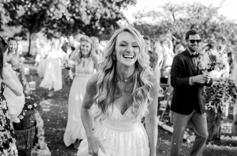 Joyous bride after her wedding ceremony