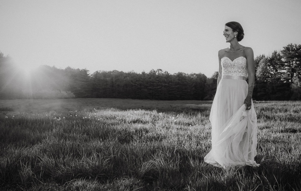A bride at her summer wedding at Flanagan Farm