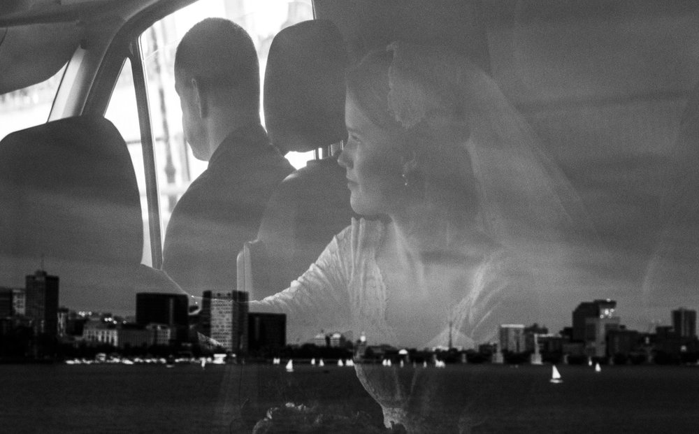 A bride on the way to her Boston wedding