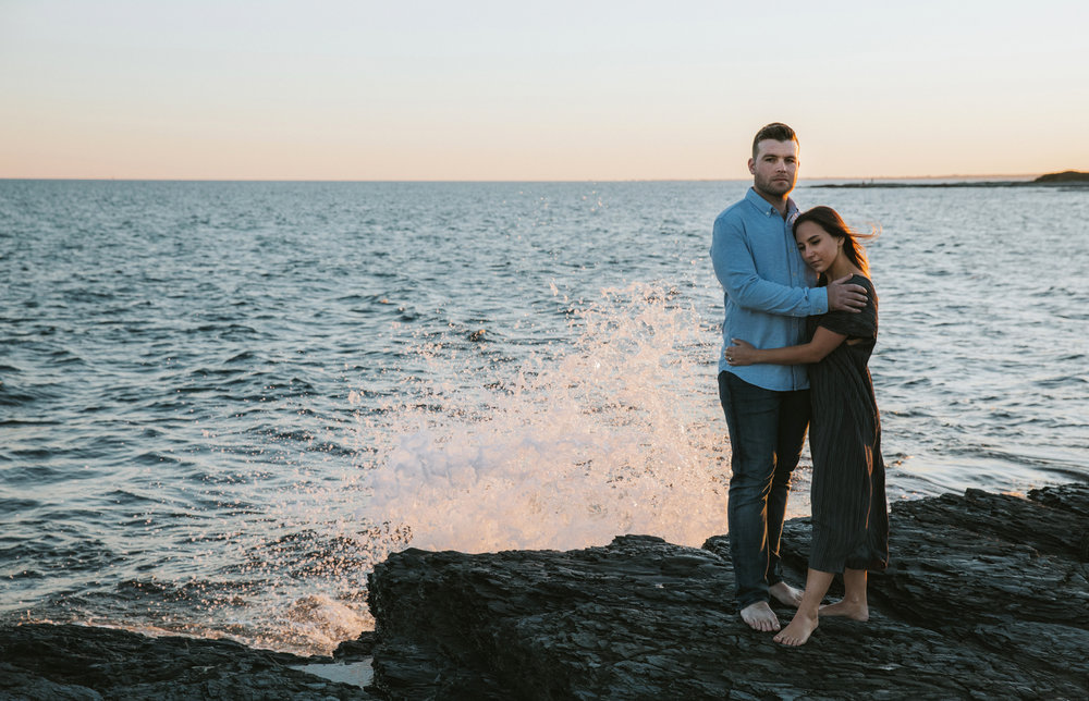 Waves crashing engagement photos ocean
