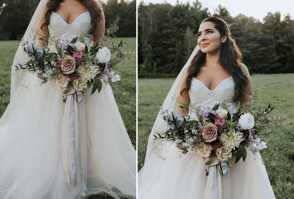 beautiful bride at flanagan farm, maine