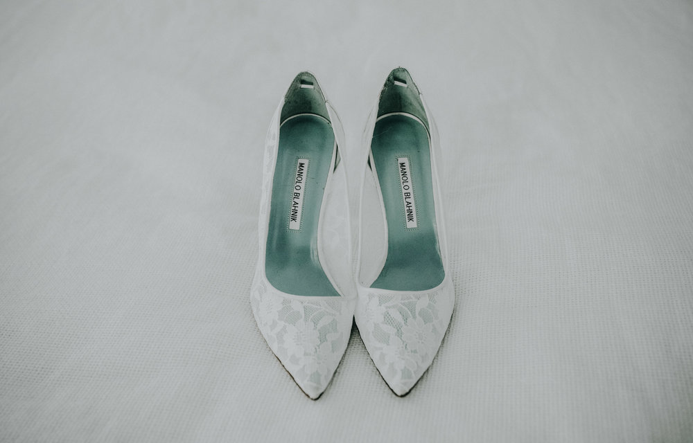 A bride's wedding shoes