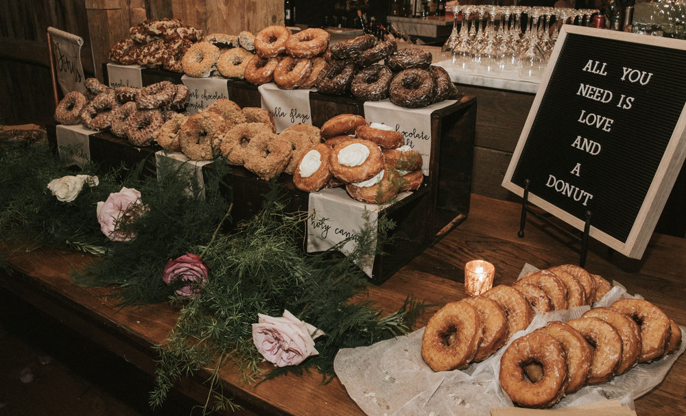 A Maine wedding reception has delicious donuts from The Holy Donut