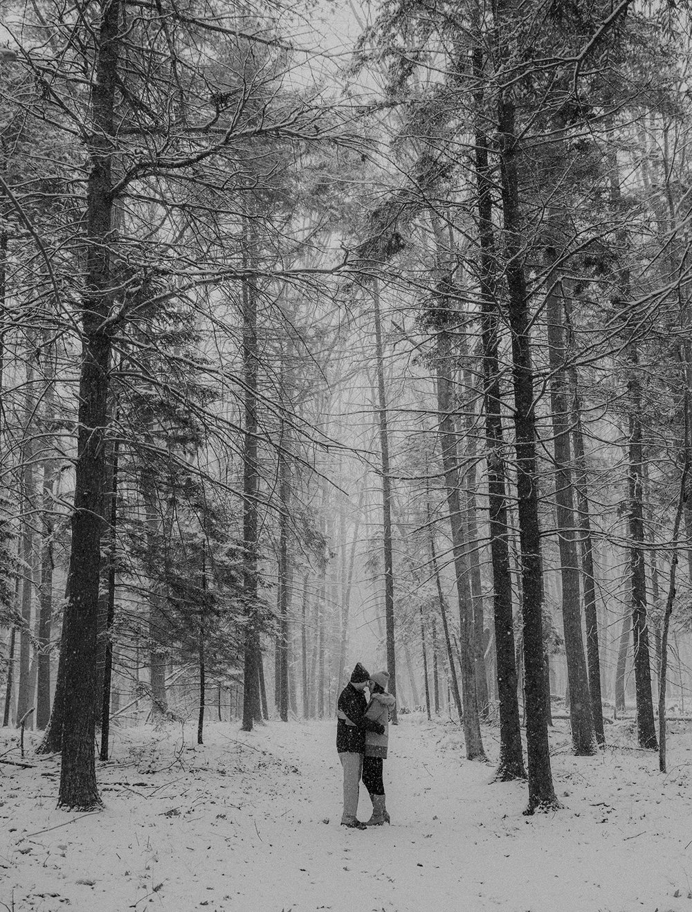 A couple cuddles tight in the woods of Maine after a snow fall