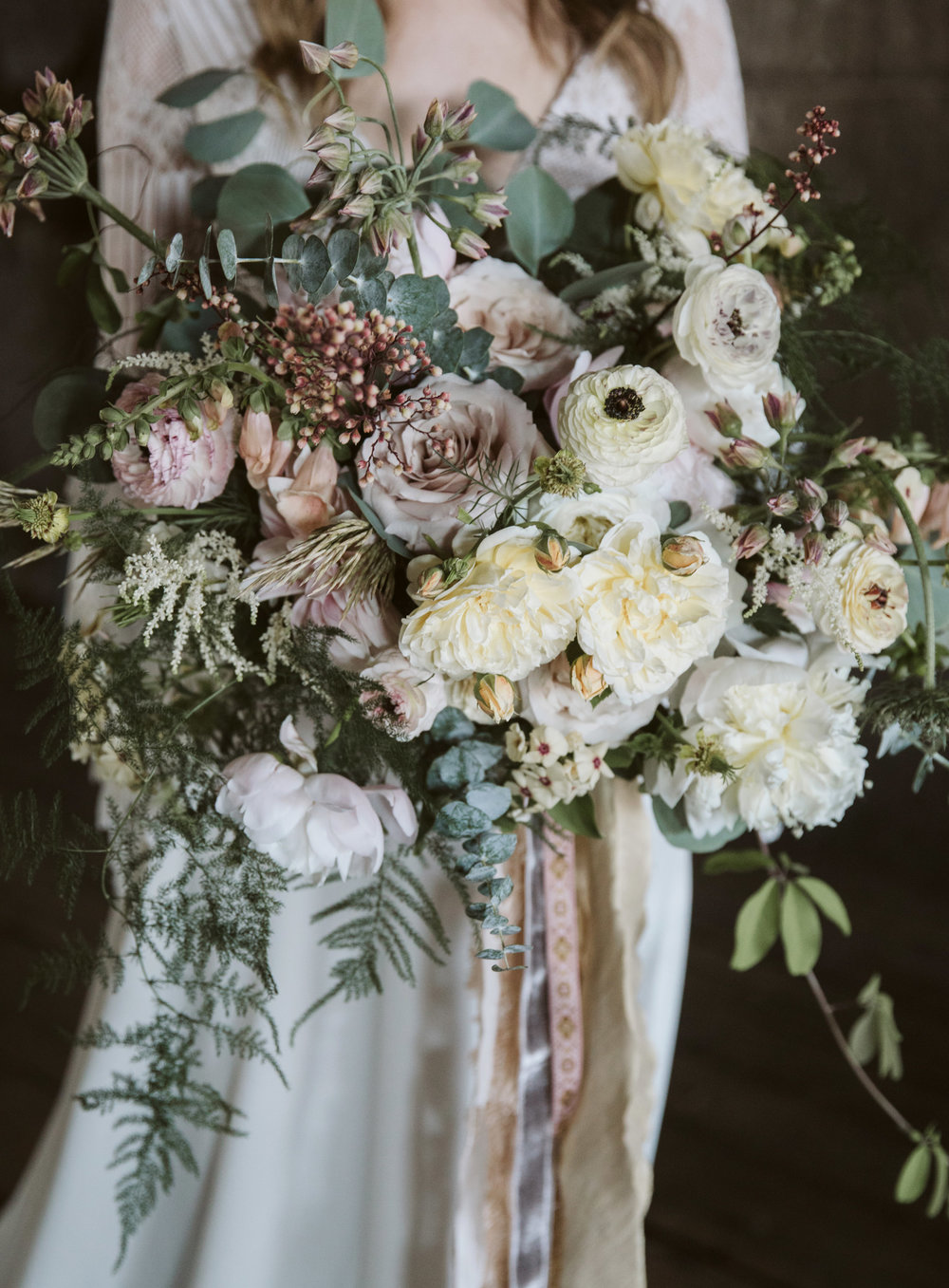 Wedding flowers in an industrial space