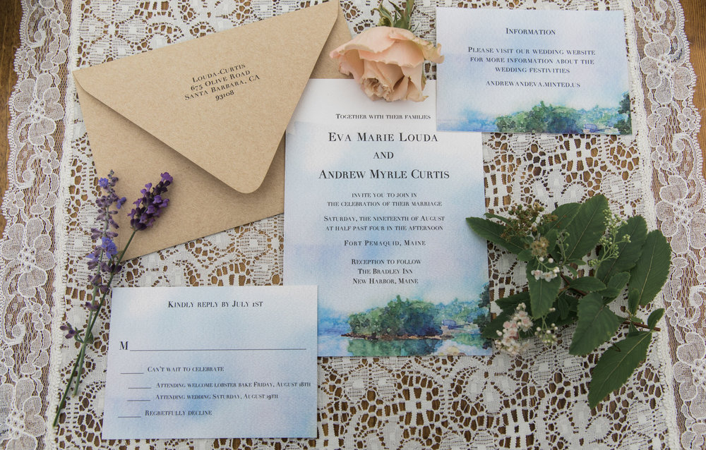 Maine wedding invitation