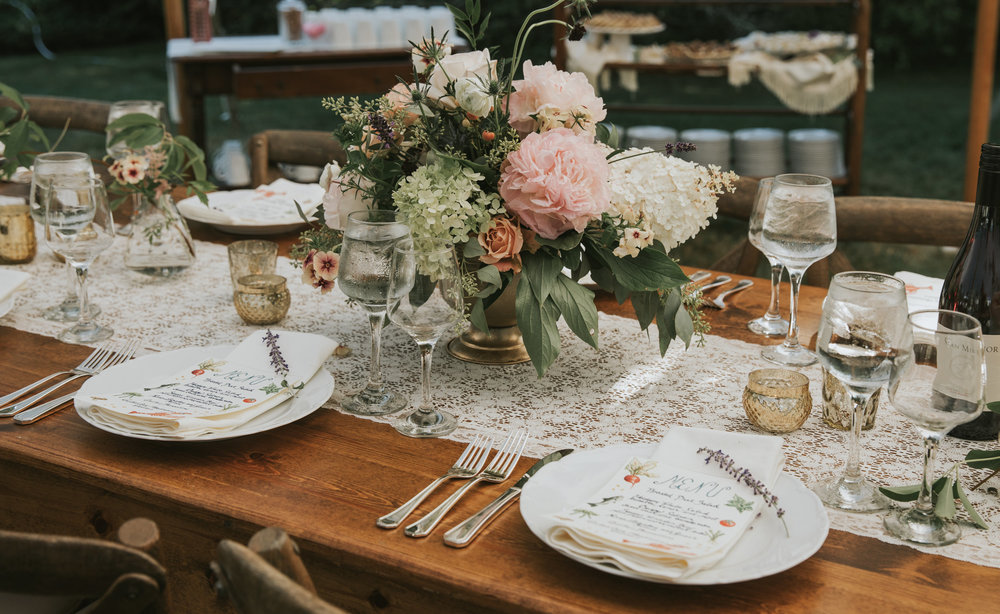 Lovely table details at a wedding reception