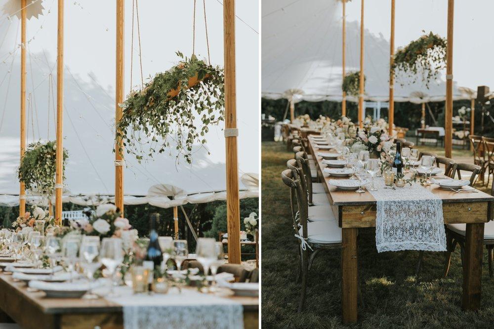 inside wedding tent