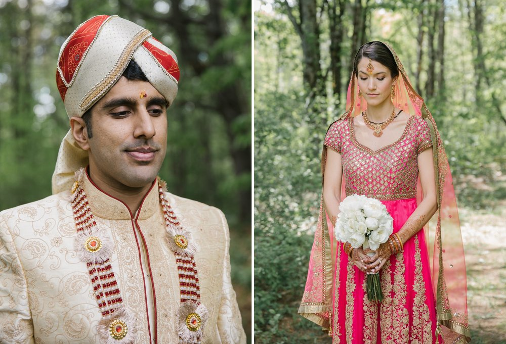 Indian bride and groom before their wedding ceremony