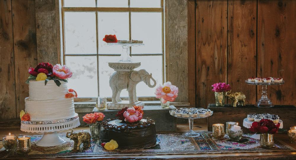 Desserts at a barn wedding