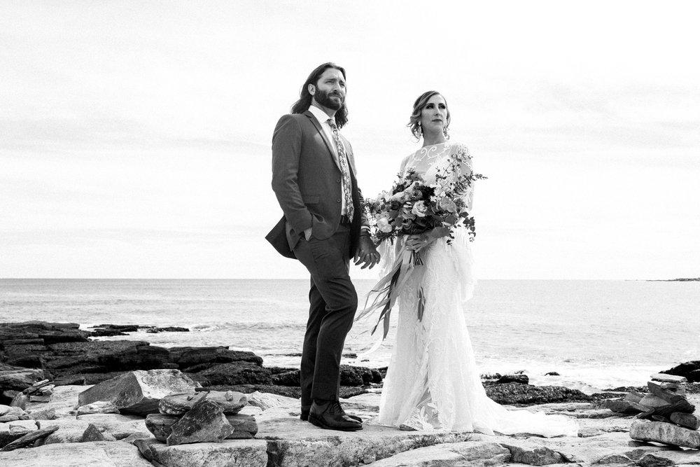 bride and groom peaks island