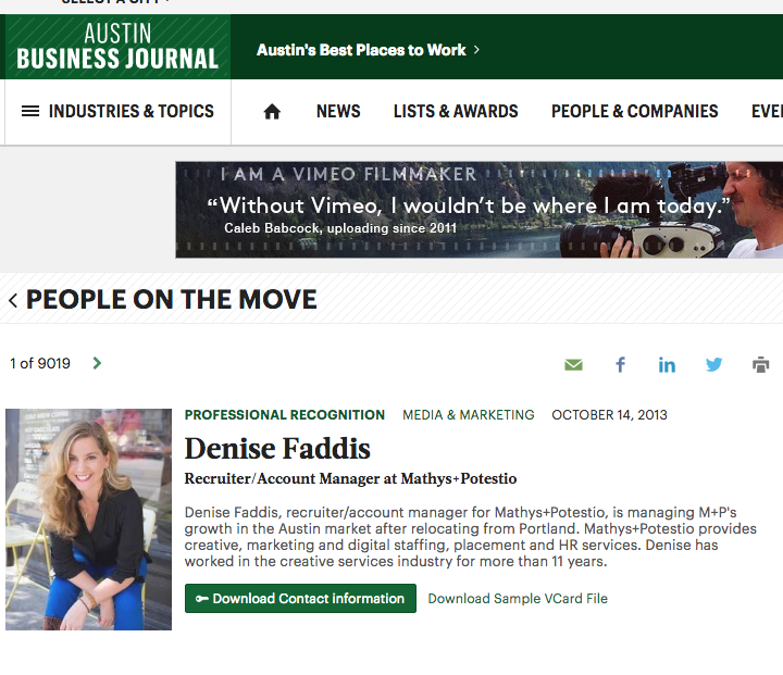 Austin Business Journal Denise Faddis