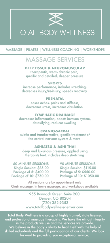 Total Body Wellness Menu of Services