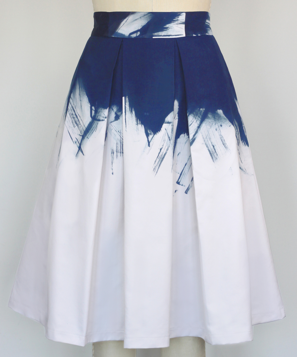 Painted and Pleated Skirt-Indigo.jpg