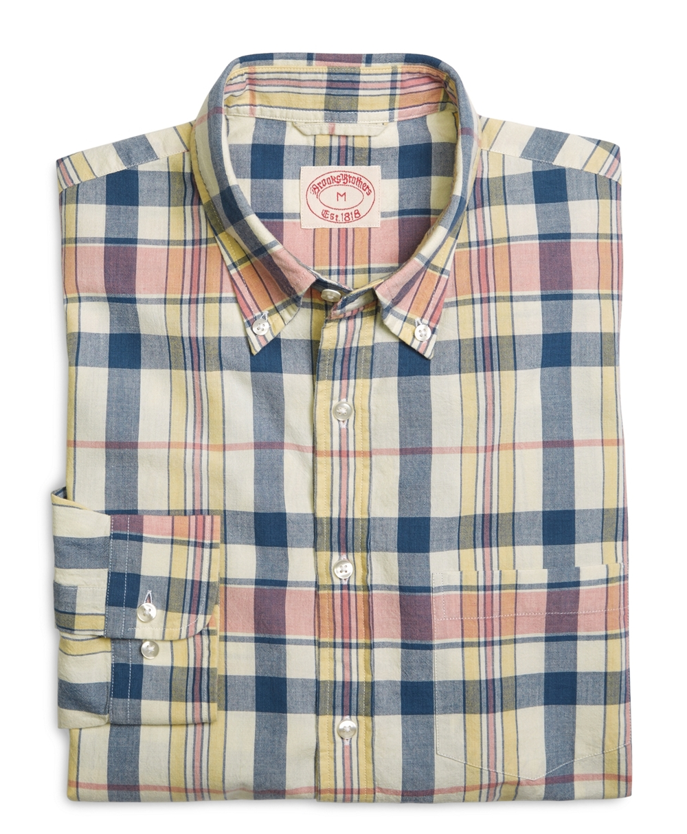 Navy with Orange Madras Sports Shirt
