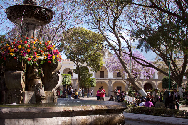 Central Park fountain, Antigua Guatemala. Photo by Melody