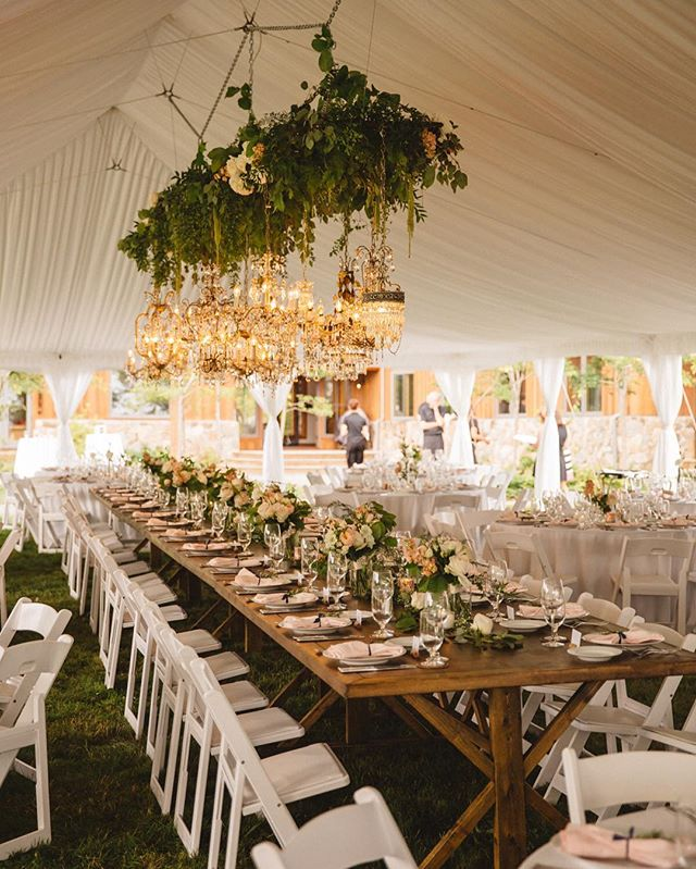 #tbt to when this incredible reception tent took our breath away. That is a hanging/floating garden chandelier! . . . . . #seattlewedding #seattleweddingphotographer #seattleweddings #pnwwedding #pnwweddings #pnwweddingphotographer #weddingreception #receptiontent #chandelier