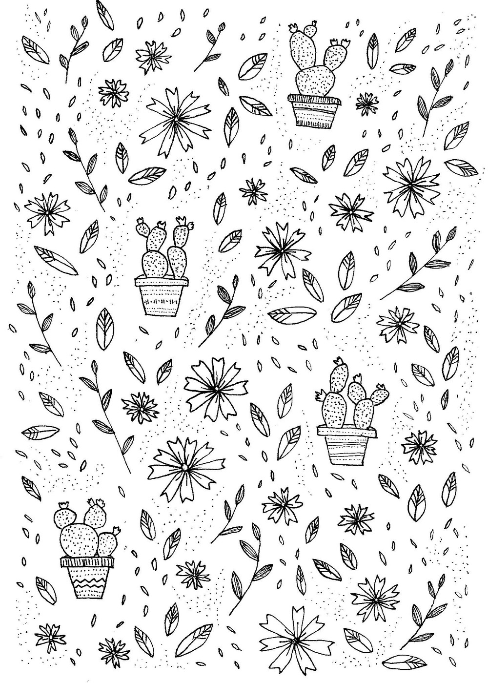 Cactus and flower pattern - ink on paper