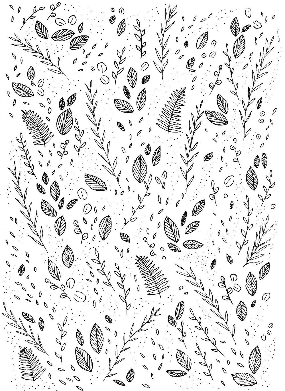 Leaf pattern - ink on paper