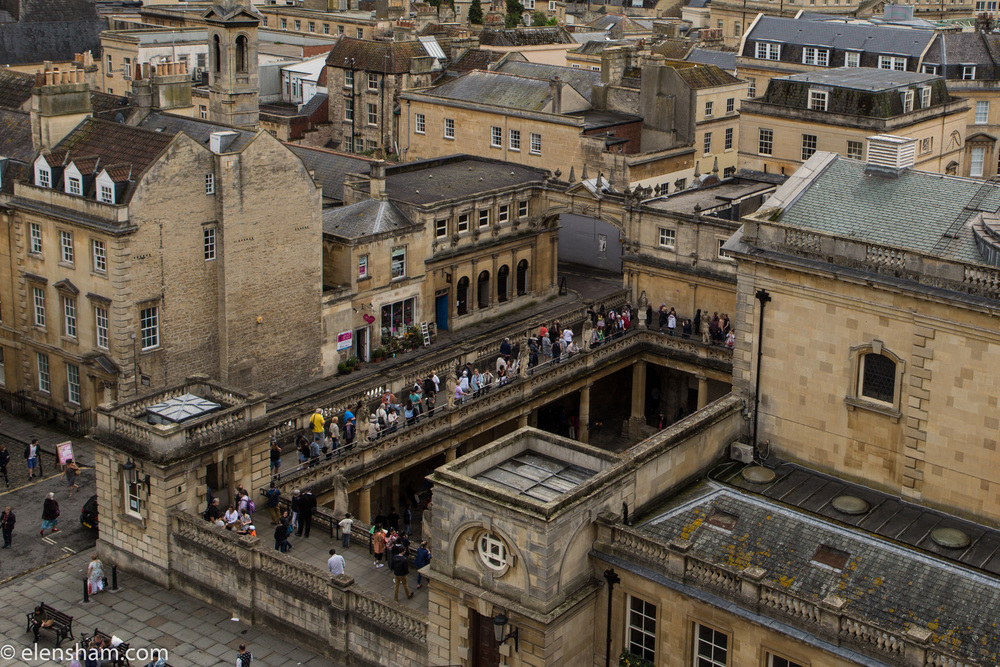 View over Roman baths from Bath Abbey.