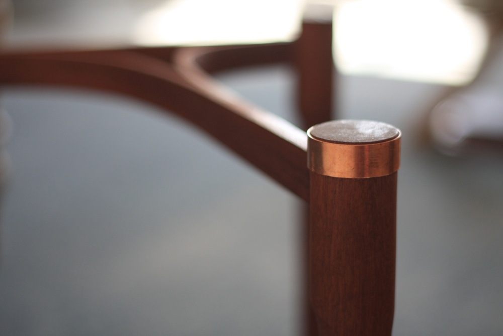 Copper ring detail, laminated Sapele