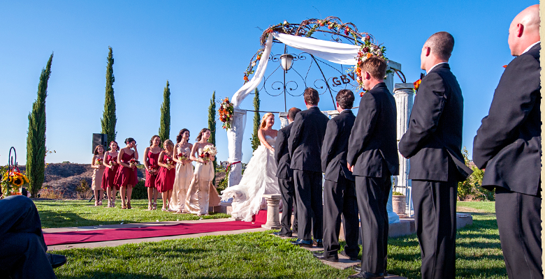 A wedding party stands beside the bride and groom for a beautiful outdoor Spring wedding