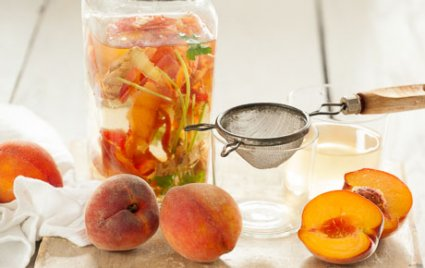 Peach-Ginger Water with Cilantro